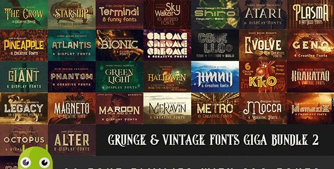 download 230 Grunge, Retro and Vintage Fonts with Extended License,font styles,font english